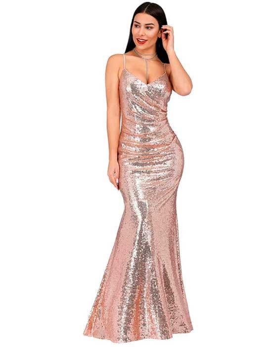 Vestido Sirena de Fiesta de Noche Largo para Mujer con Lentejuelas Cuello en V