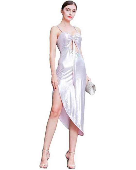 Vestidos Elegantes Cuello en V Una línea Vestido Cóctel Vestidos de Fiesta Ajustable Tiras de Espagueti